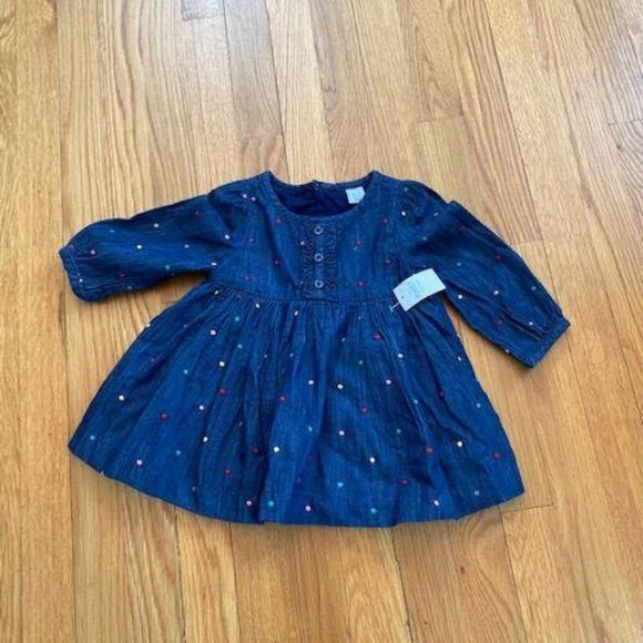 NWT GAP girl's denim dress with polka dots